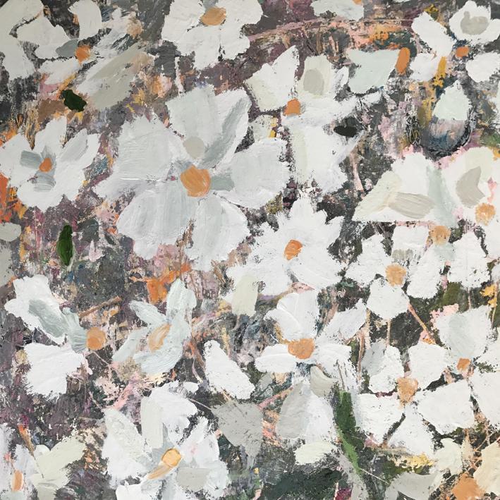 Fallen Blooming , 2017  acrylic and enamel on board  45 x 45 cm
