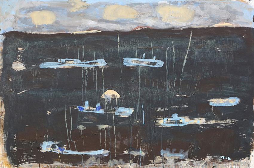 Blue Fishing Fleet , 2016  pigment and PVA binder on canvas  101 x 149.5 cm