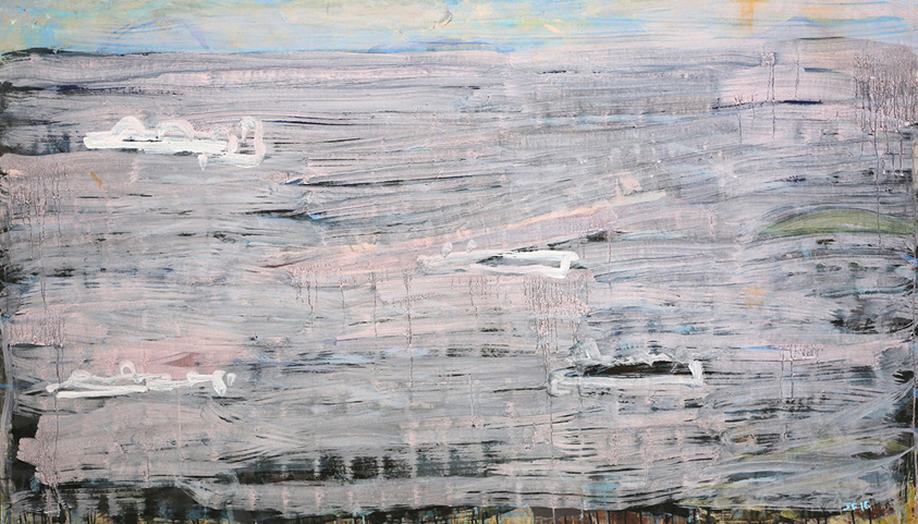 Gas Tankers Gladstone , 2016  pigment and PVA binder on canvas  122 x 210.5 cm