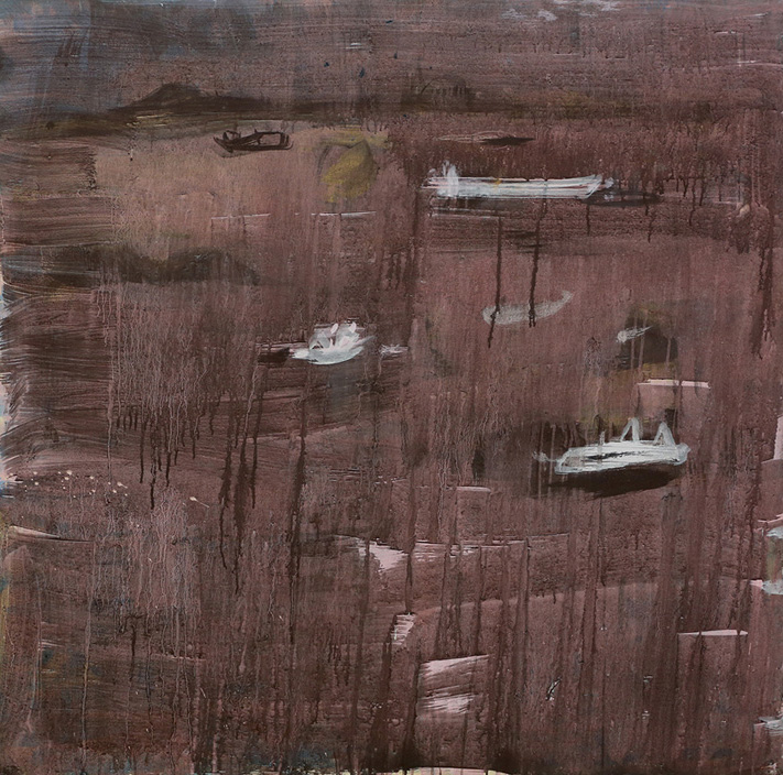 Scallop Boats of Busted Head, 2016  pigment and PVA binder on canvas  125 x 126.5 cm
