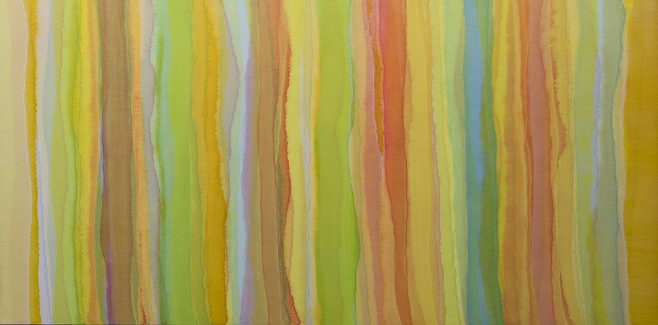 KARL WIEBKE   Vertical Movements / Horizontal Brushstrokes 3 , 2016  synthetic polymer paint on linen  150 x 300 cm