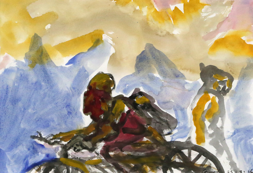 KEVIN CONNOR   Mountain Studies, N.Z. (1),  2016  watercolour on paper  28 x 40 cm