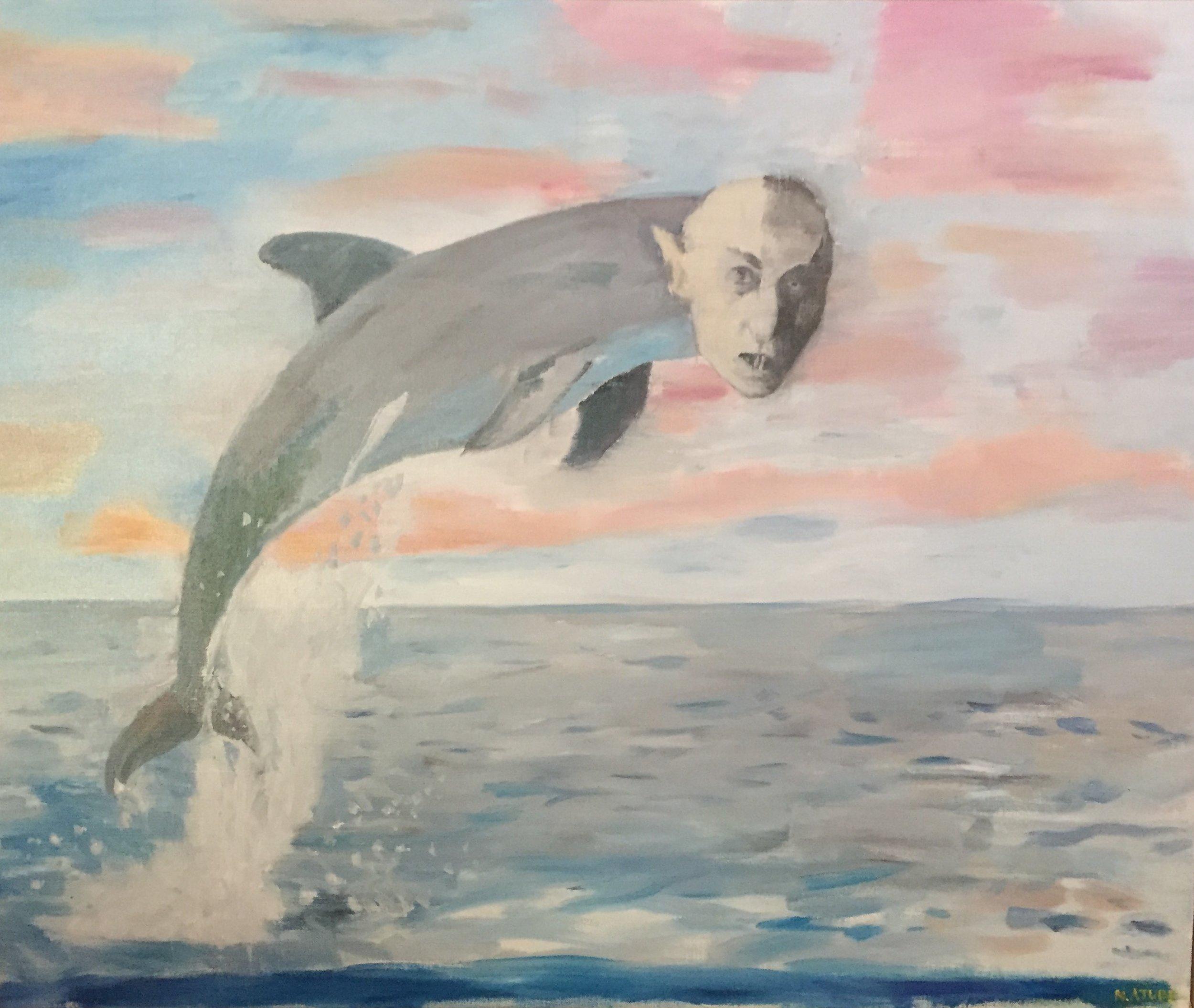 NICK COLLERSON   Sea Monster , 2017  oil on linen  84 x 102 cm