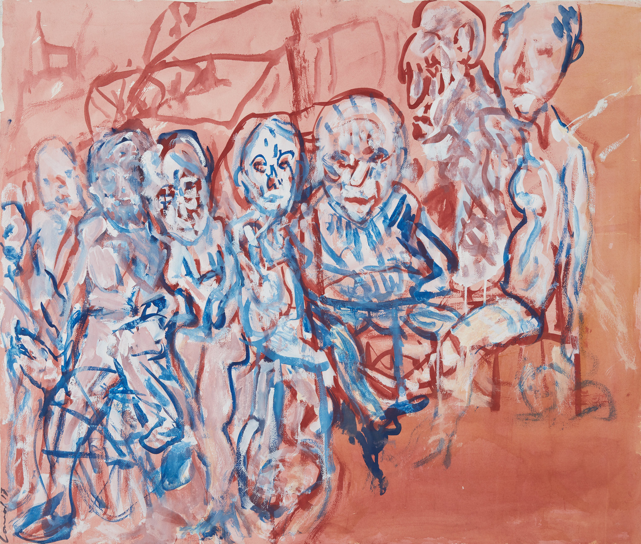 KEVIN CONNOR  Cafe People , 2017 gouache on 300gsm cotton paper 85 x 100 cm