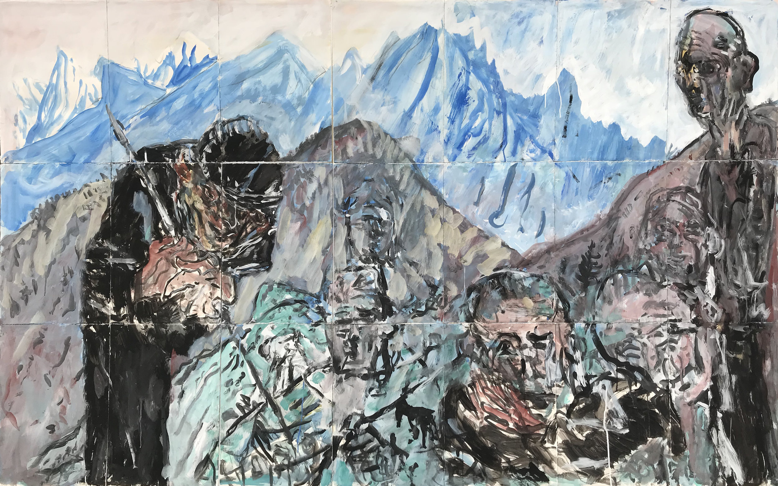 KEVIN CONNOR  Colonisation (in the alps of the South Island, New Zealand) , 2018 gouache on 300gsm cotton paper 198 x 259 cm