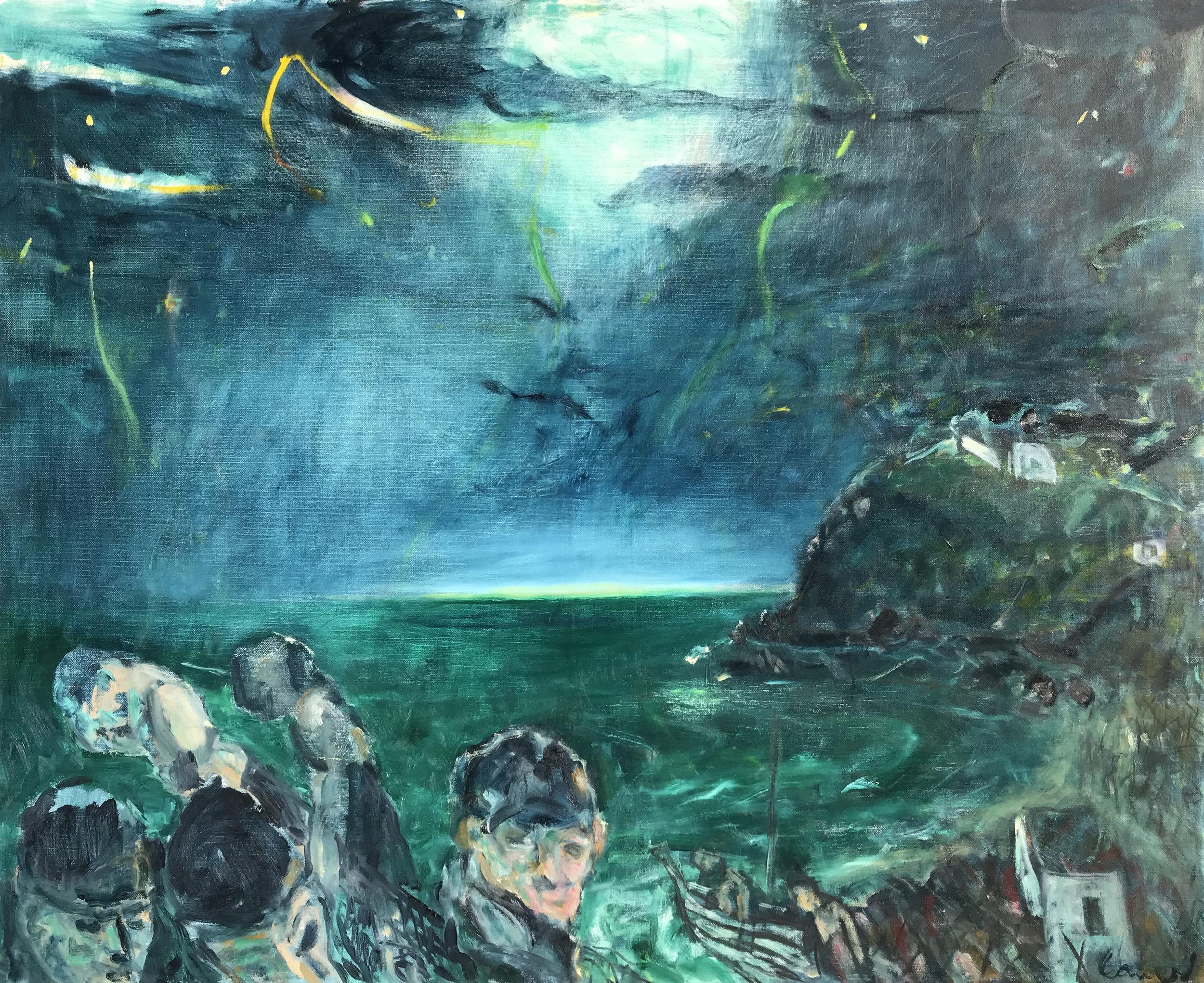 KEVIN CONNOR  Dawn Fishermen (winter, Almayate Bajo, 1965) , 2018 oil on canvas 99.5 x 129.5 cm