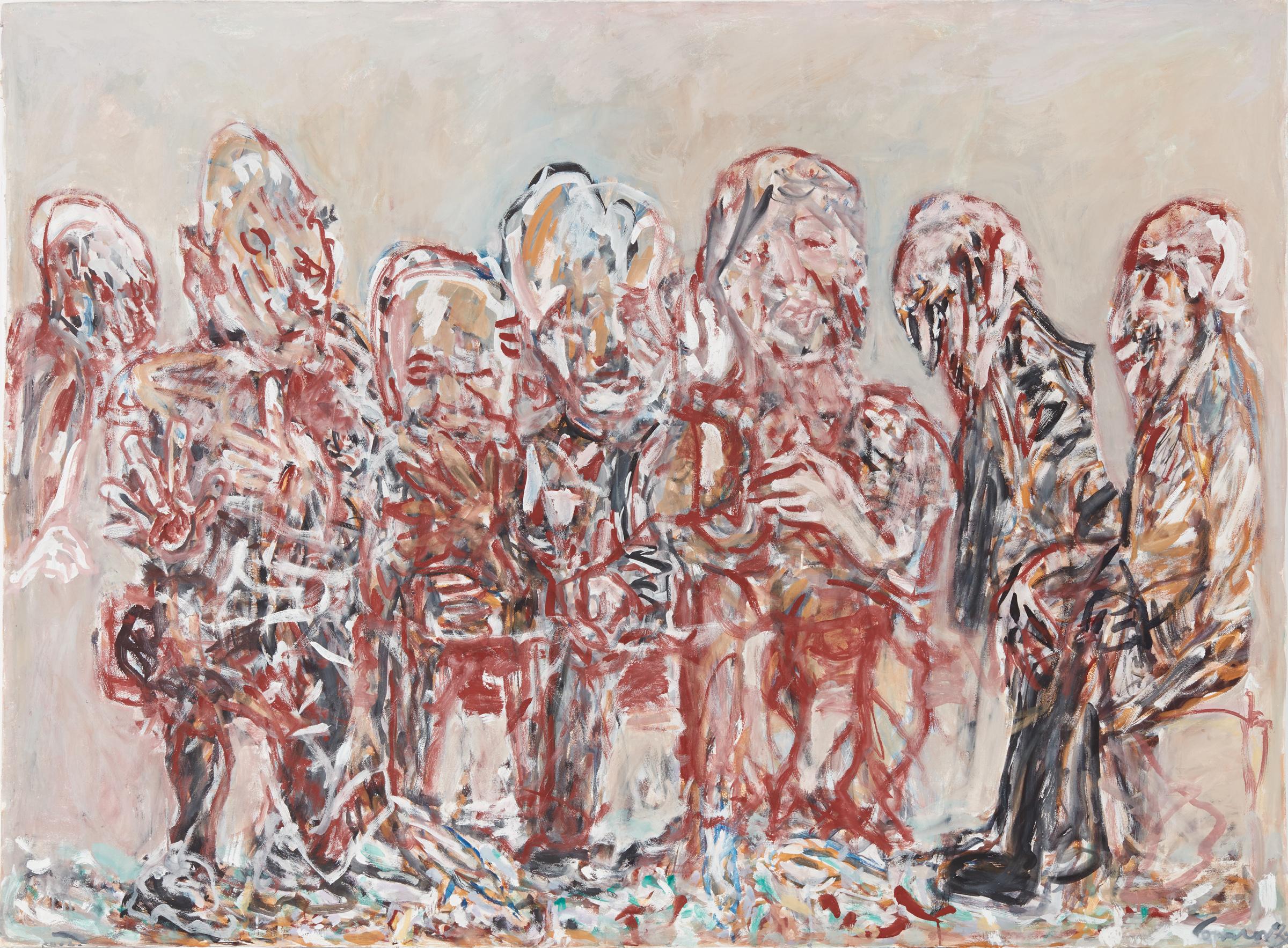 KEVIN CONNOR  Waiting , 2018 gouache on 300gsm cotton paper 141 x 190.5 cm
