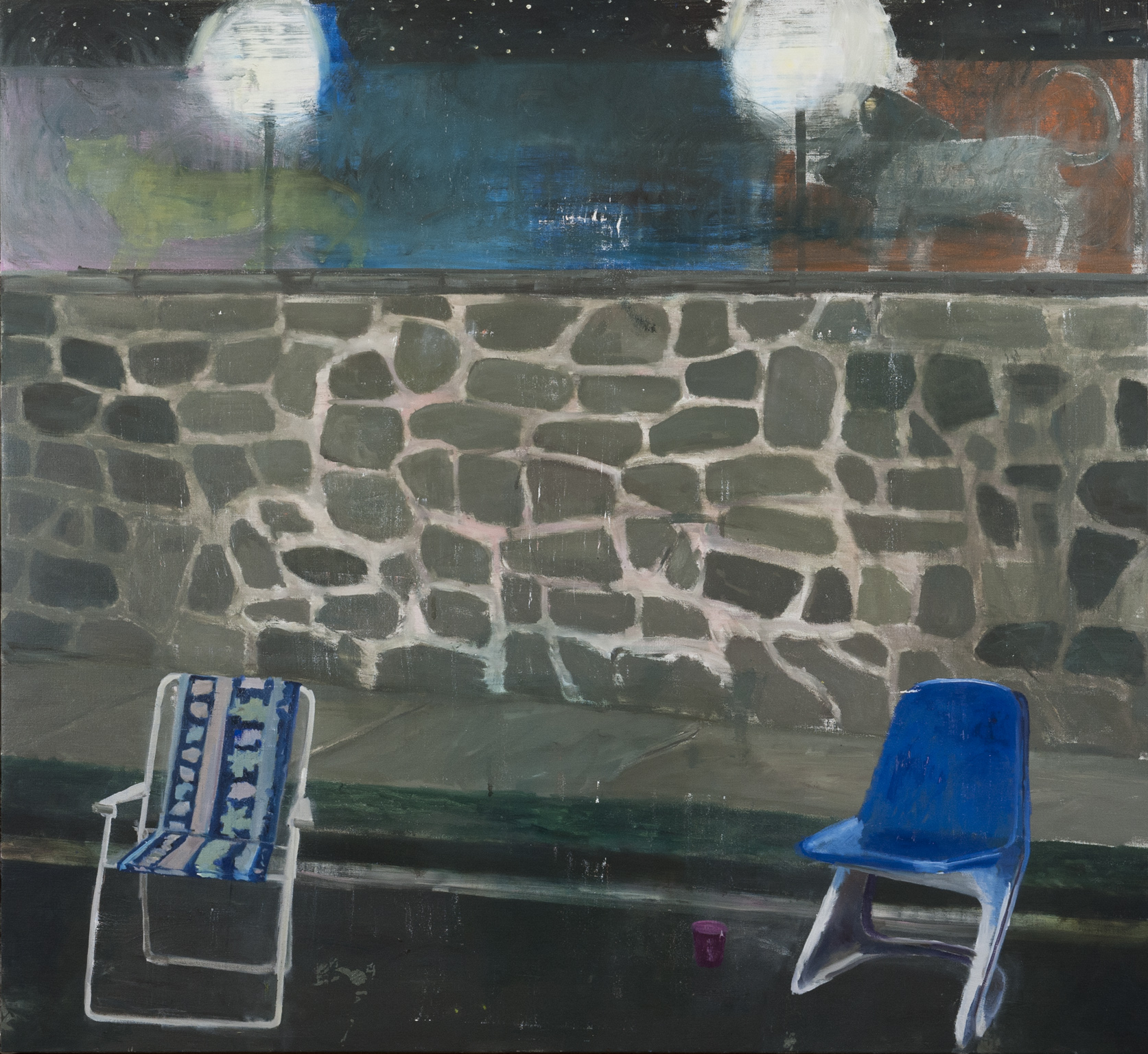 NICK COLLERSON  Blue Chairs , 2016 oil on linen 167.6 x 183 cm