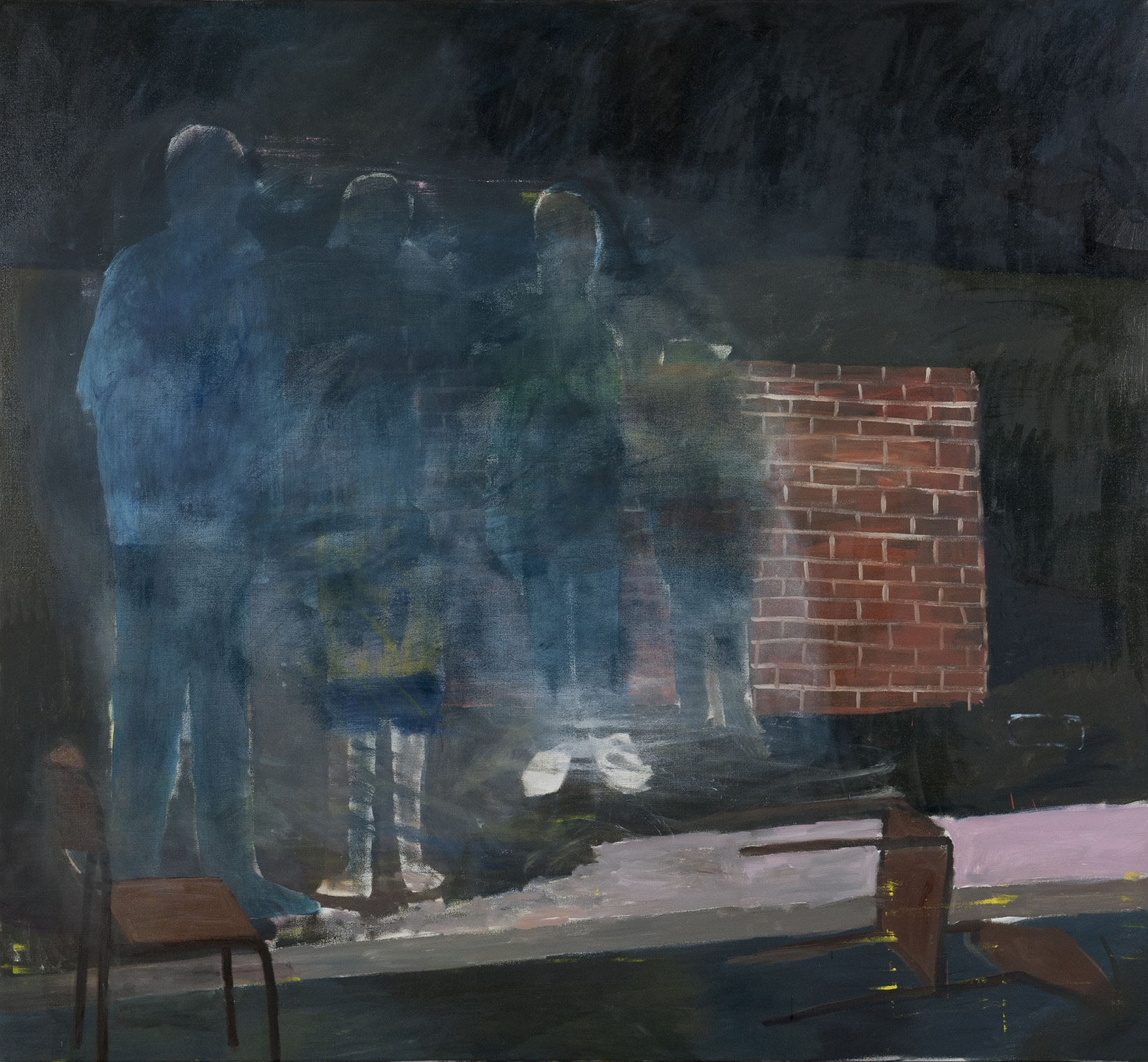 NICK COLLERSON  People Standing Next to a Wall at Night , 2016 oil on linen 167.6 x 183 cm