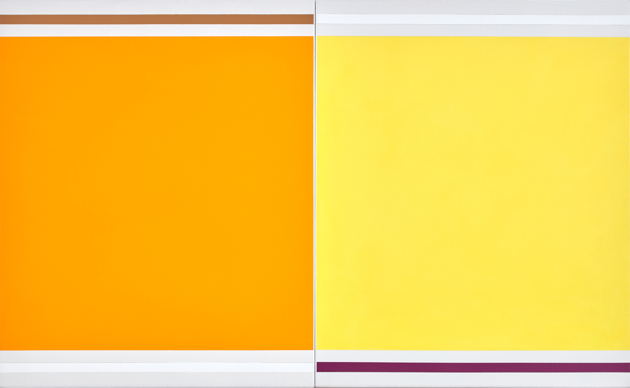 VIRGINIA COVENTRY  Yellow with Yellow , 2016 acrylic on Belgian linen 2 panels 40 x 65 cm each