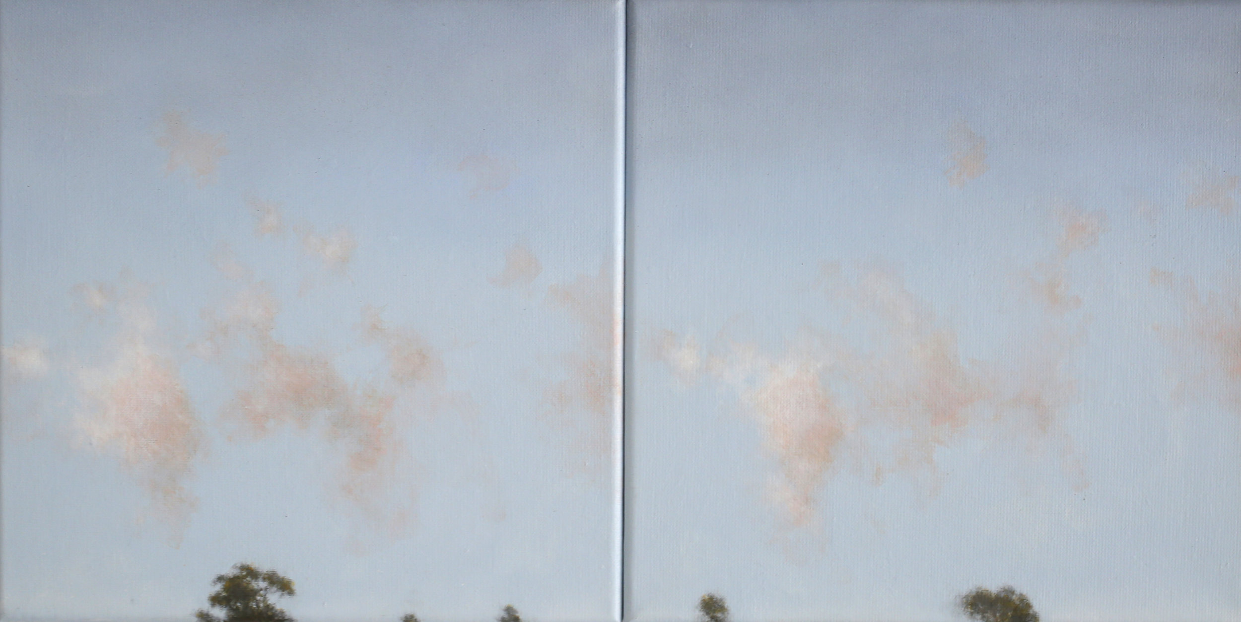 IAN GRANT  (blue sky) Tree Tops III Diptych,  2018 acrylic on linen 30 x 60 cm