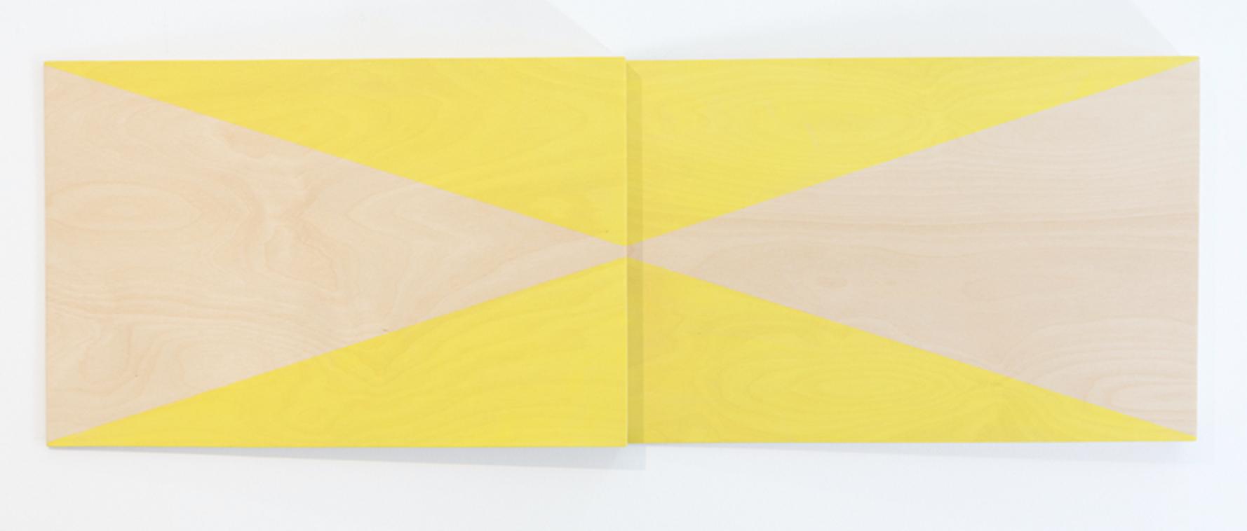 VIRGINIA COVENTRY  Test Piece - Lemon Yellow,  2018 acrylic on plywood 2 Panels 40 x 60 cm each