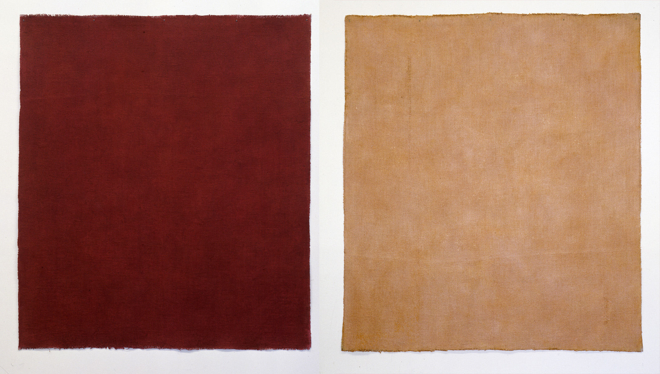 BRIAN BLANCHFLOWER  Canopy XL - Diptych (purple madder and bronze) , 1997 micaceous acrylic, acrylic gesso on laminated hessian 209 x 398 cm