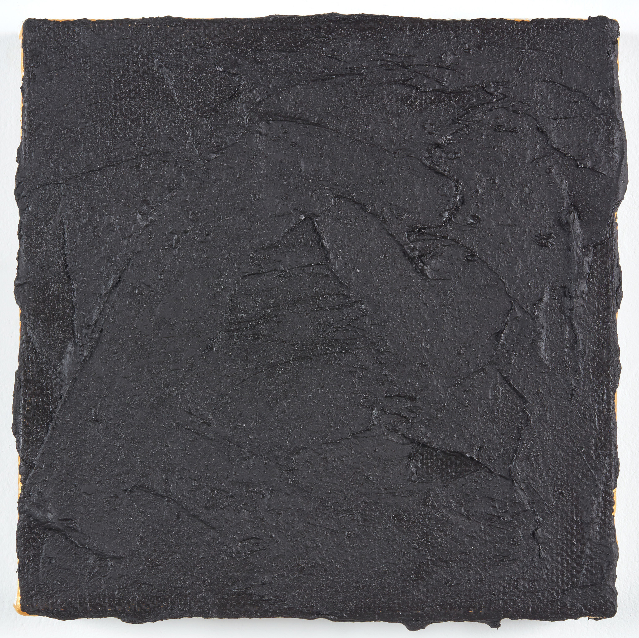 DAVID SERISIER  black on gold square painting no.2 , 2019 oil, wax and acrylic on linen