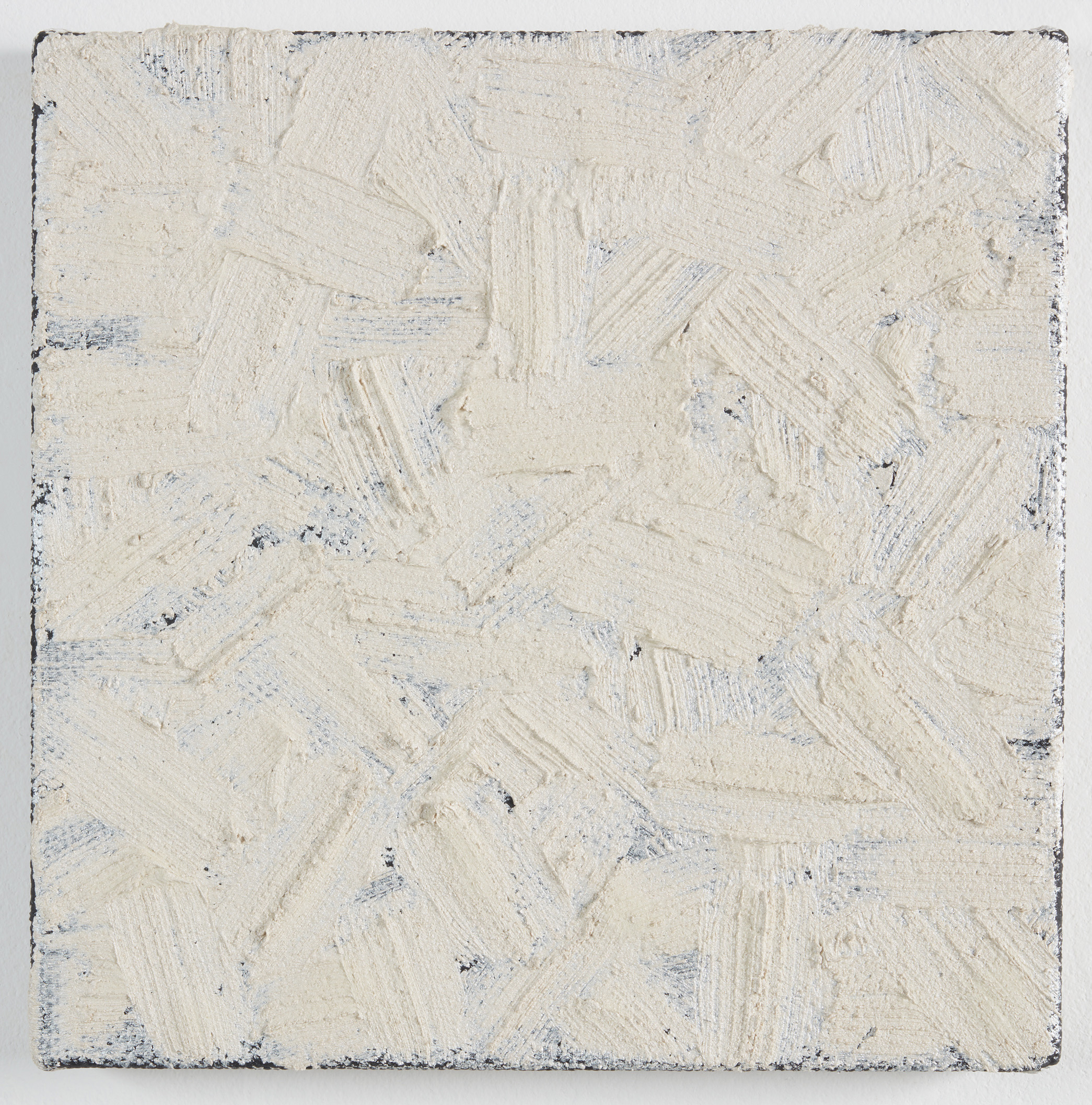 DAVID SERISIER  mica on black square painting , 2019 oil on linen 30.5 x 30.5 cm
