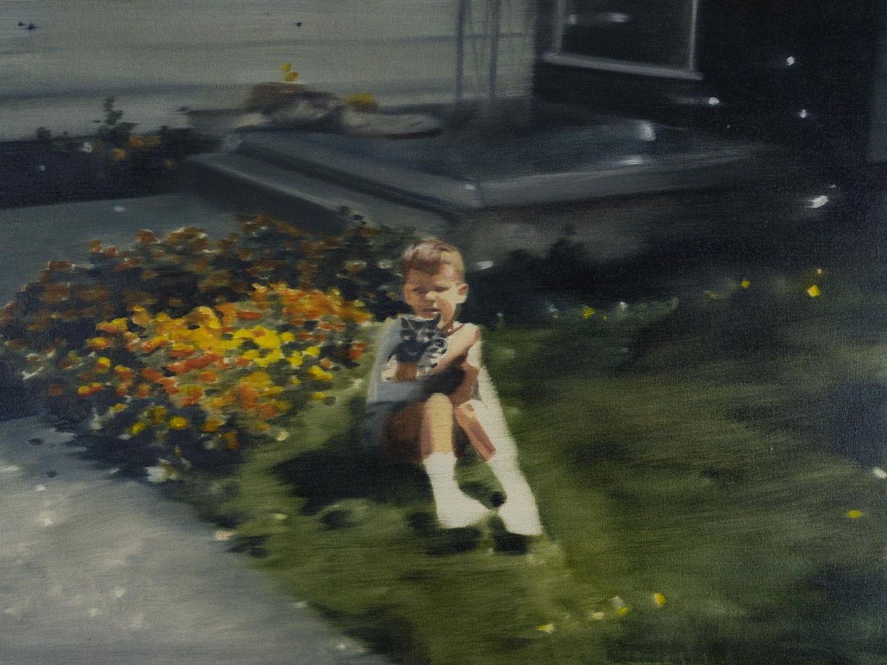 DANI McKENZIE  Boy in the Yard , 2019 oil on linen 46 x 61 cm