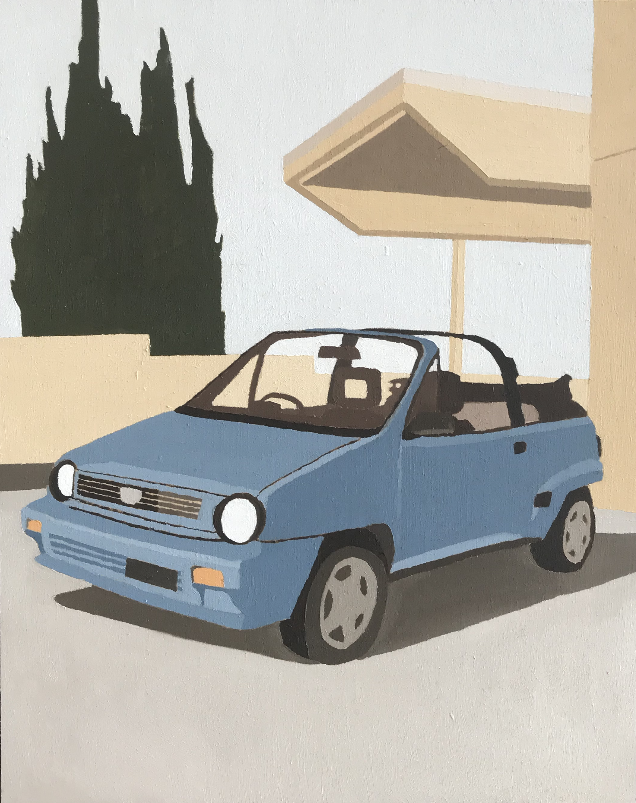 ELIZA GOSSE  Driving manual is my only barrier to possessing this car , 2019 oil on canvas 25 x 20 cm