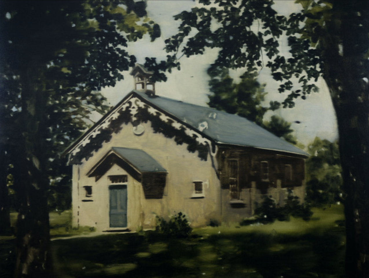 DANI McKENZIE  Schoolhouse , 2019 oil on linen 76.5 x 102 cm