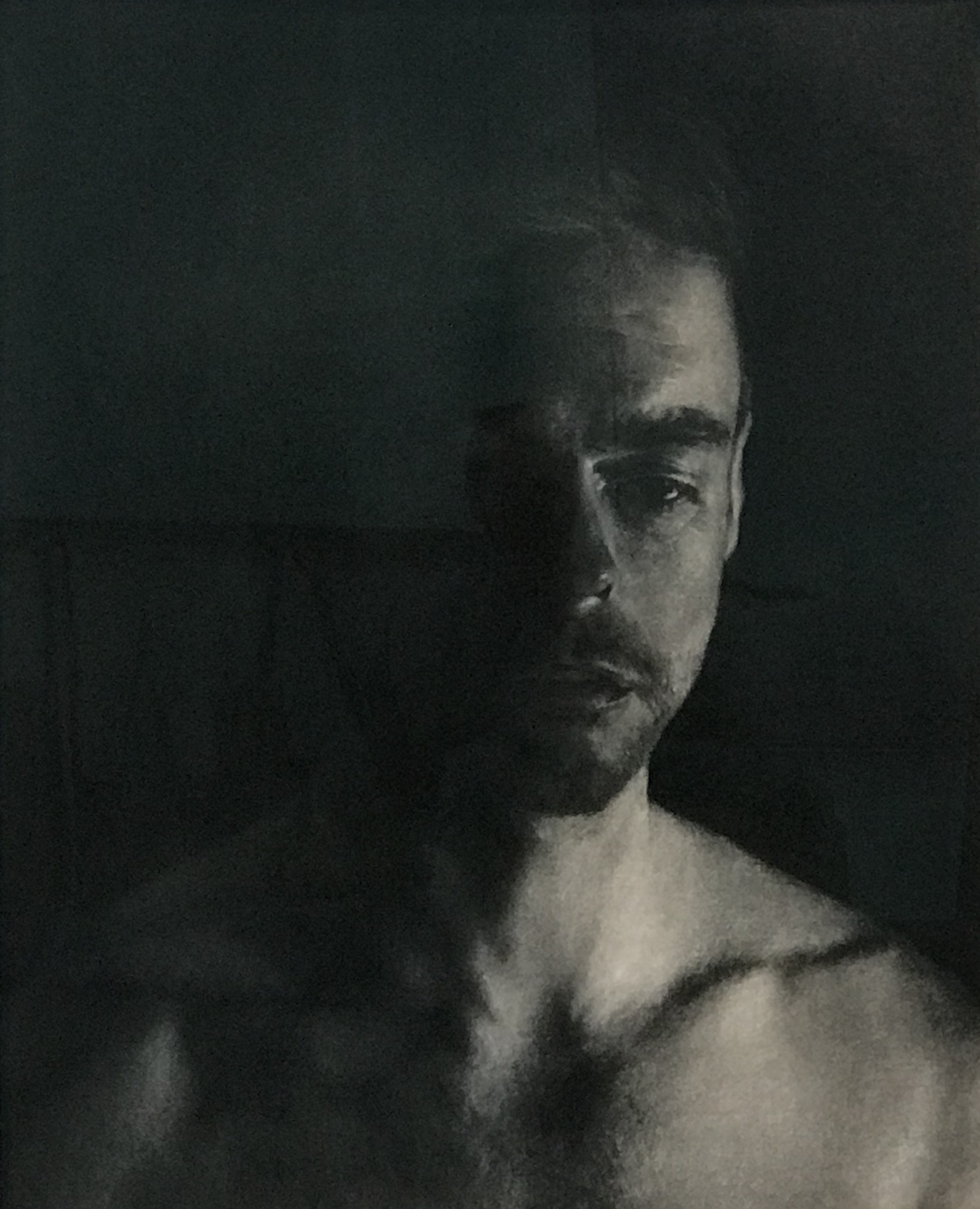 ANTOINETTE BARBOUTTIS  Liam  charcoal on rag paper 94 x 76 cm