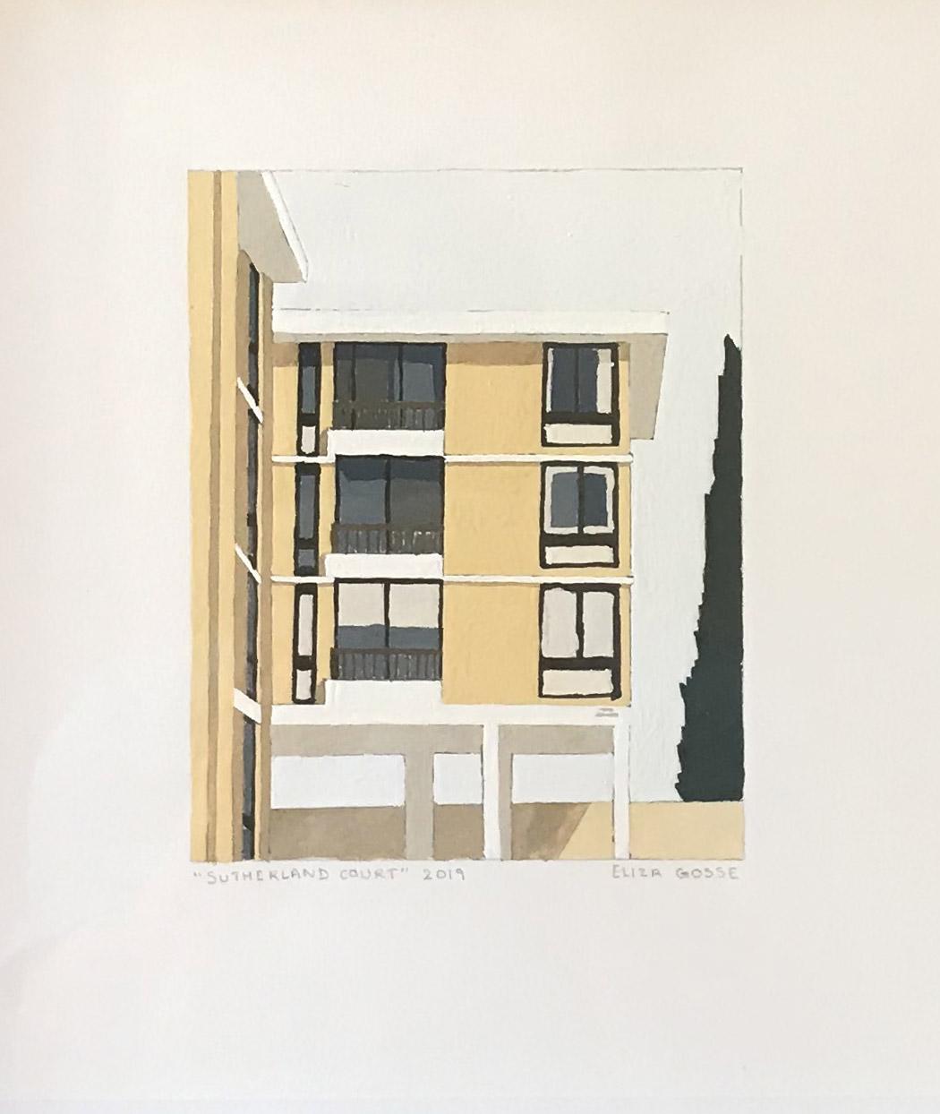 ELIZA GOSSE  Sutherland Court , 2019 gouache on paper 15 x 12 cm