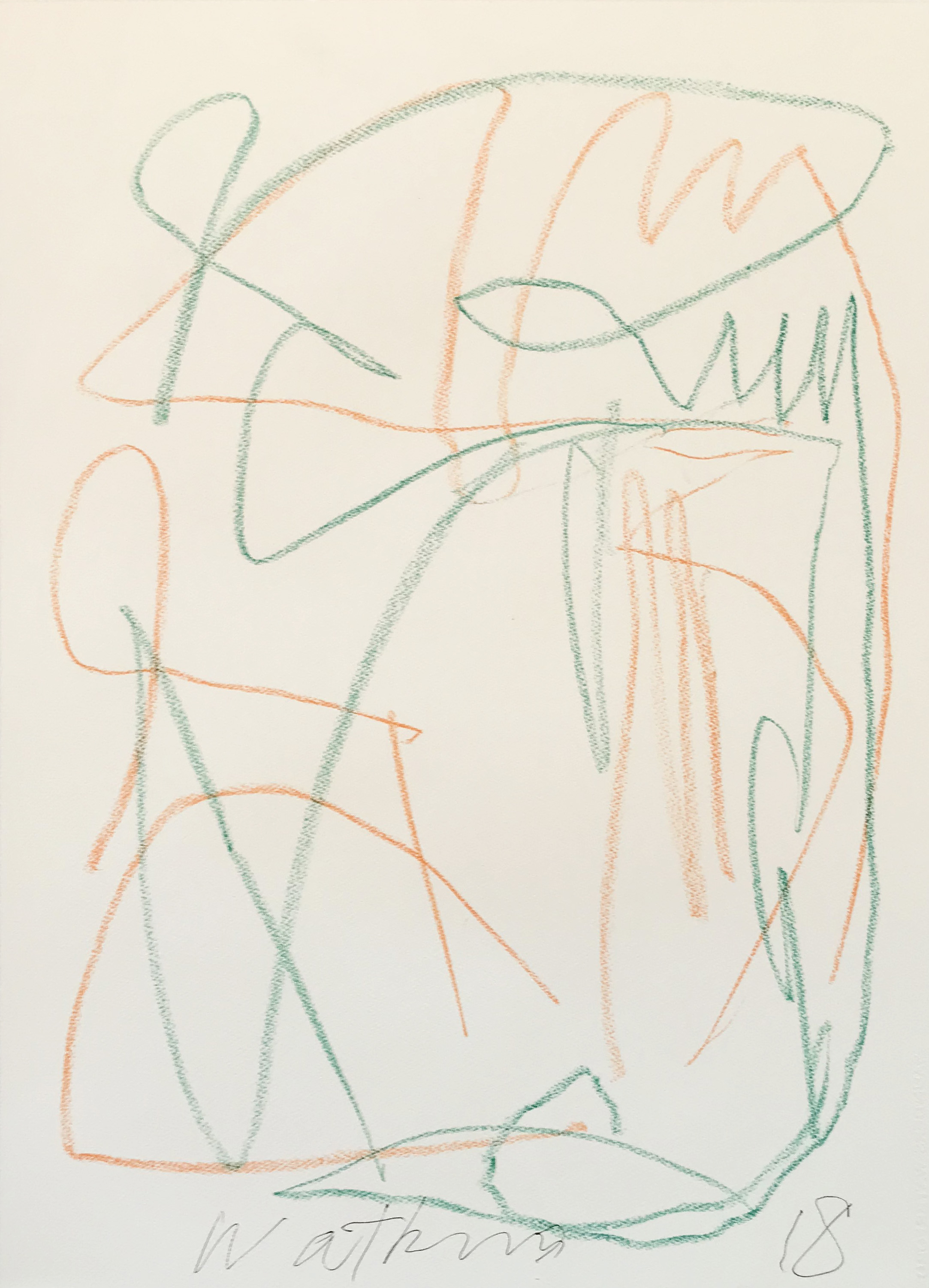 DICK WATKINS  Untitled drawing 03 , 2018 pastel on 300gsm paper 76 x 56 cm