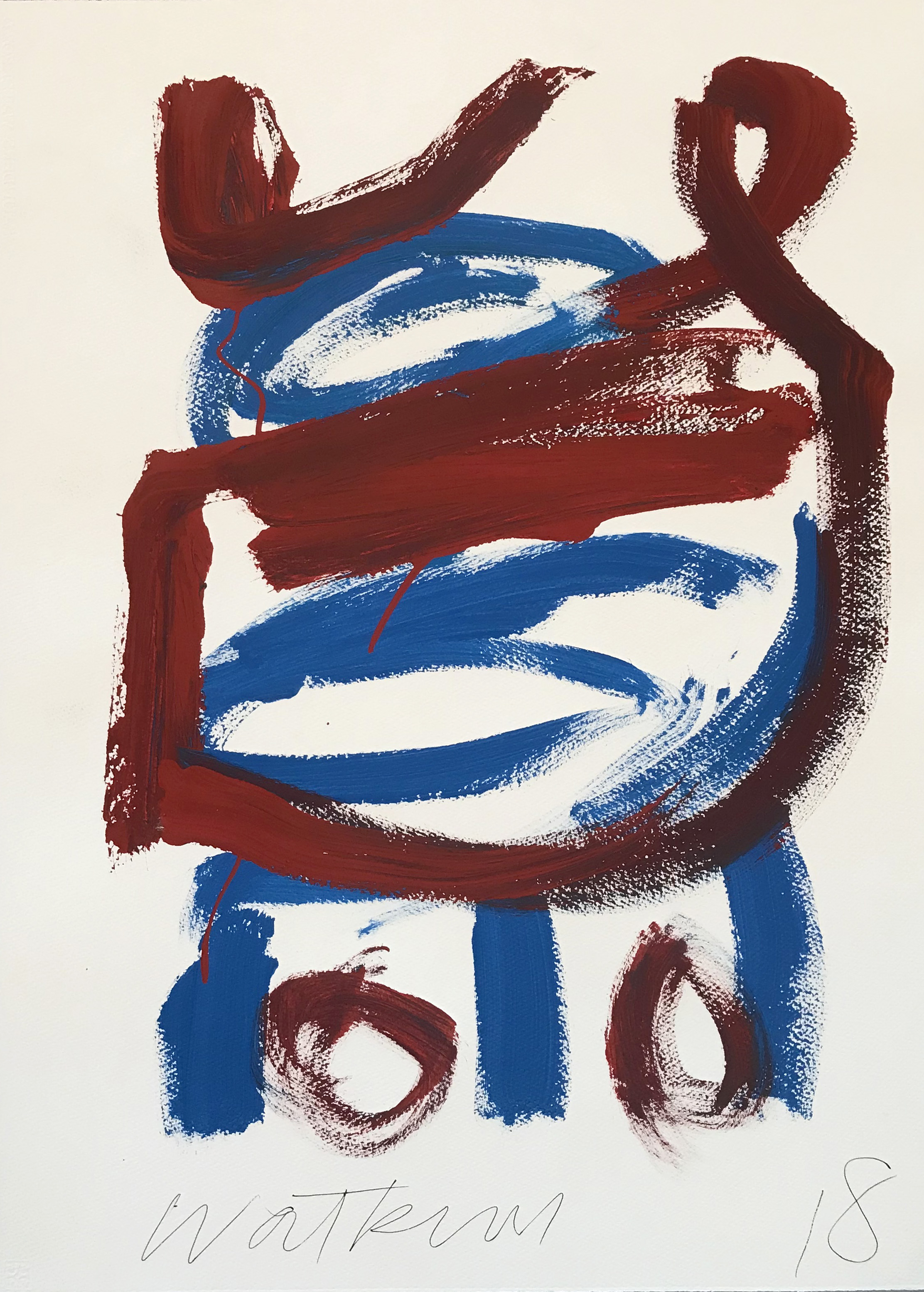 DICK WATKINS  Untitled drawing 07 , 2018 acrylic on 300gsm paper 76 x 56 cm