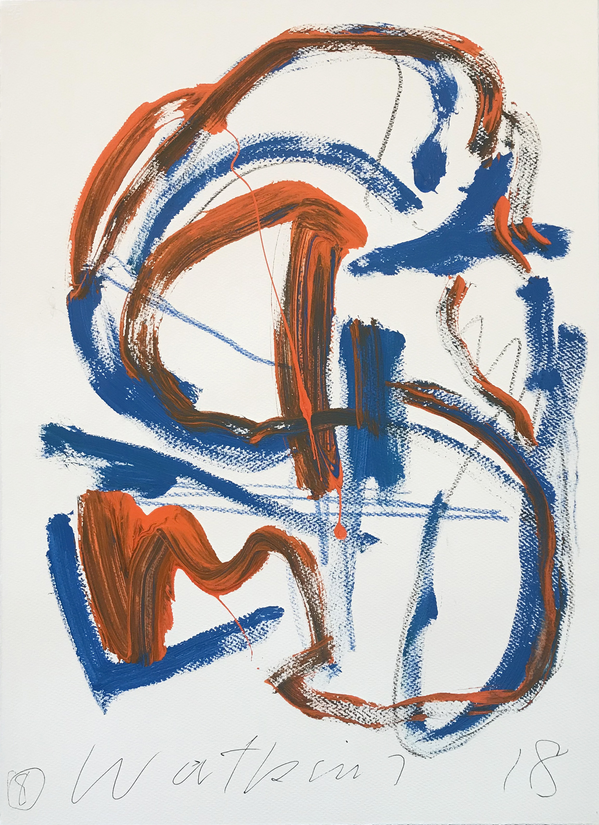 DICK WATKINS  Untitled drawing 08 , 2018 acrylic on 300gsm paper 76 x 56 cm