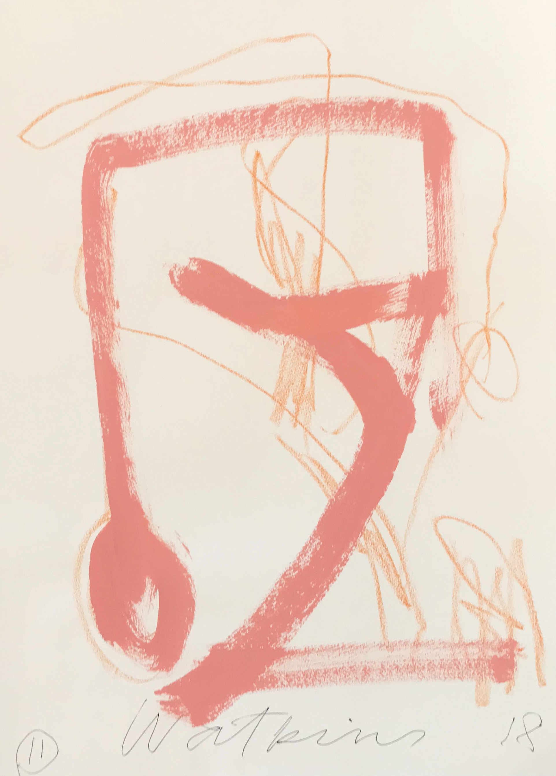 DICK WATKINS  Untitled drawing 11 , 2018 acrylic and pastel on 300gsm paper 76 x 56 cm