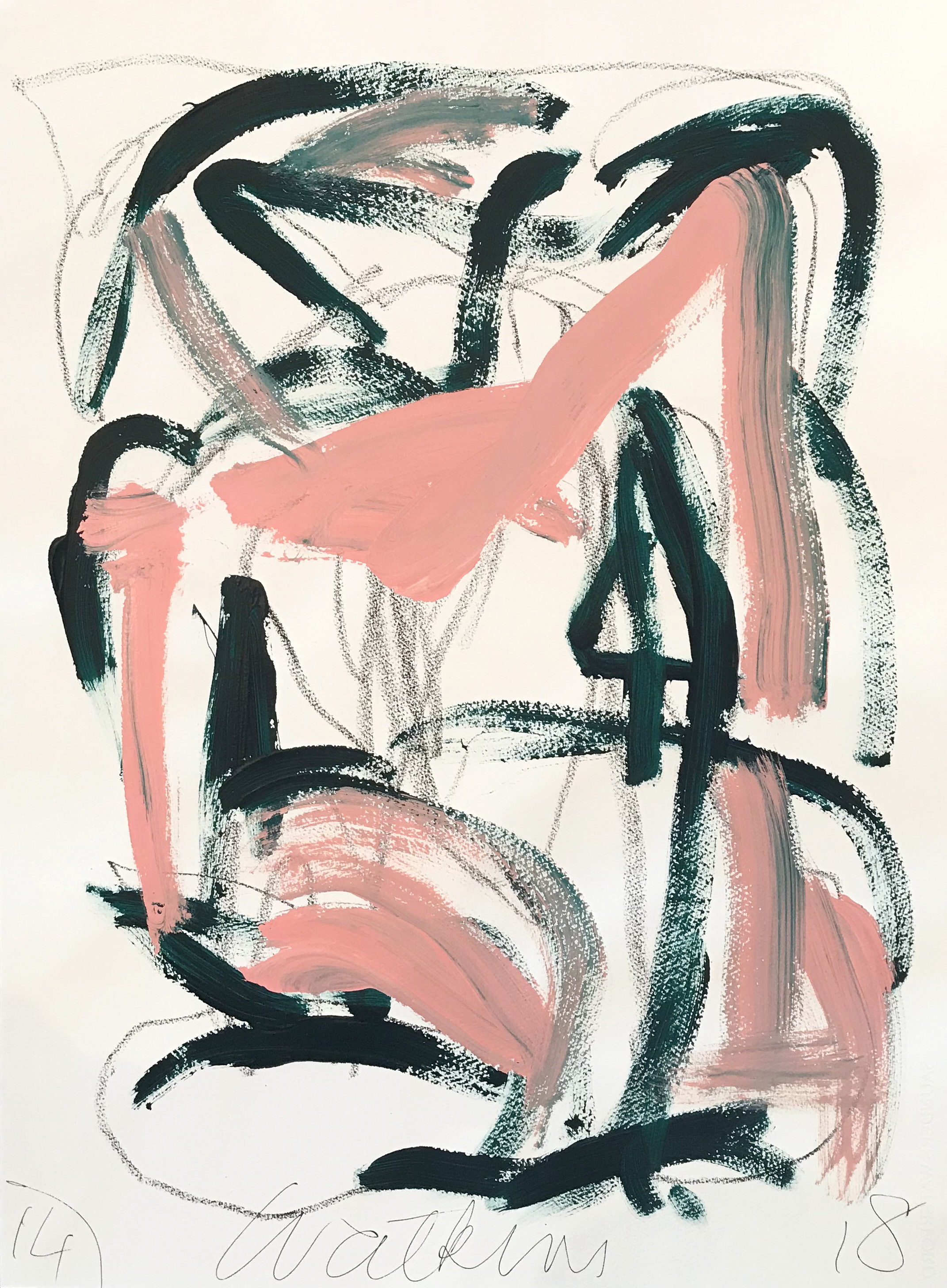 DICK WATKINS  Untitled drawing 14 , 2018 acrylic and pastel on 300gsm paper 76 x 56 cm