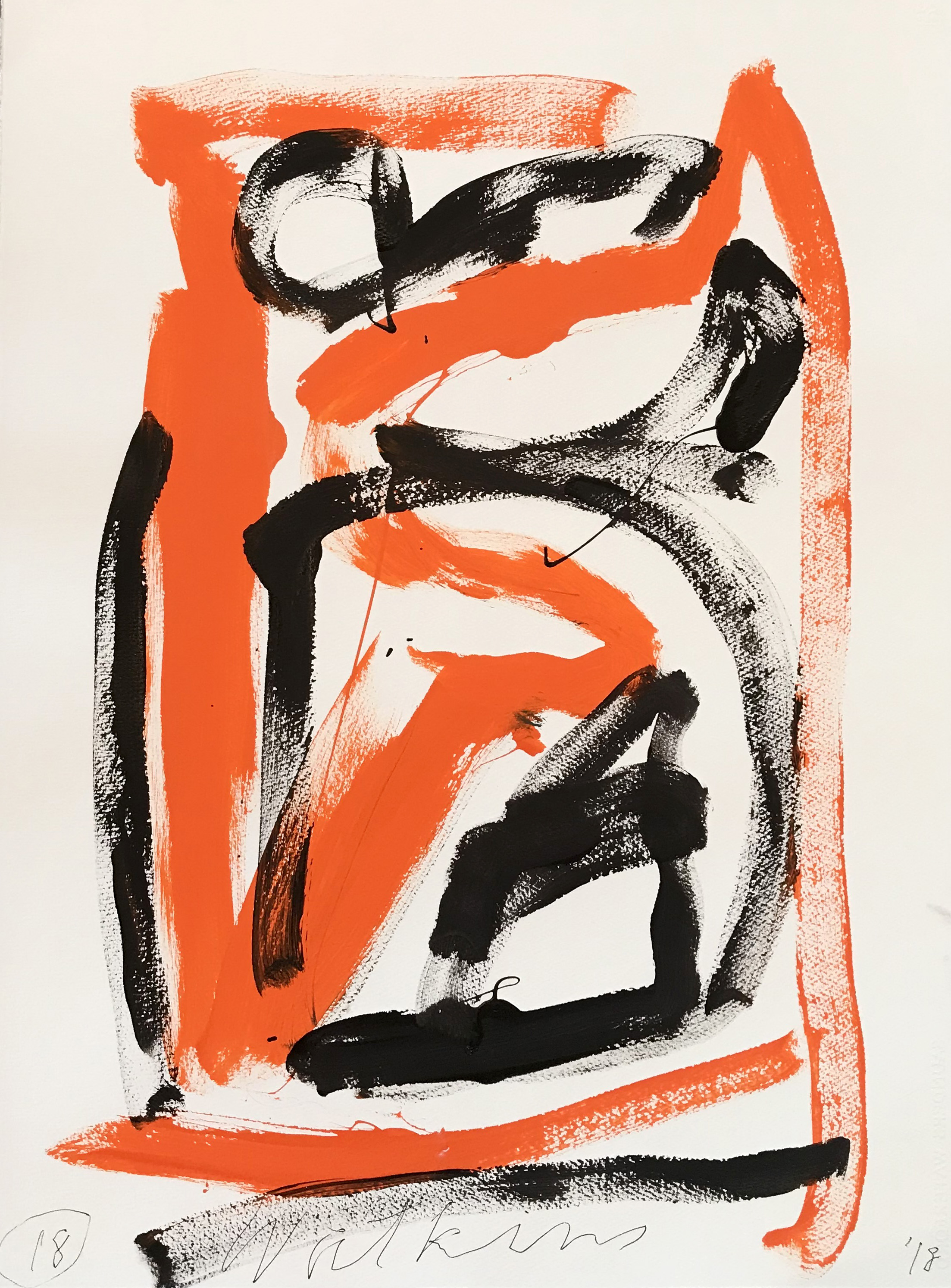 DICK WATKINS  Untitled drawing 18 , 2018 acrylic on 300gsm paper 76 x 56 cm
