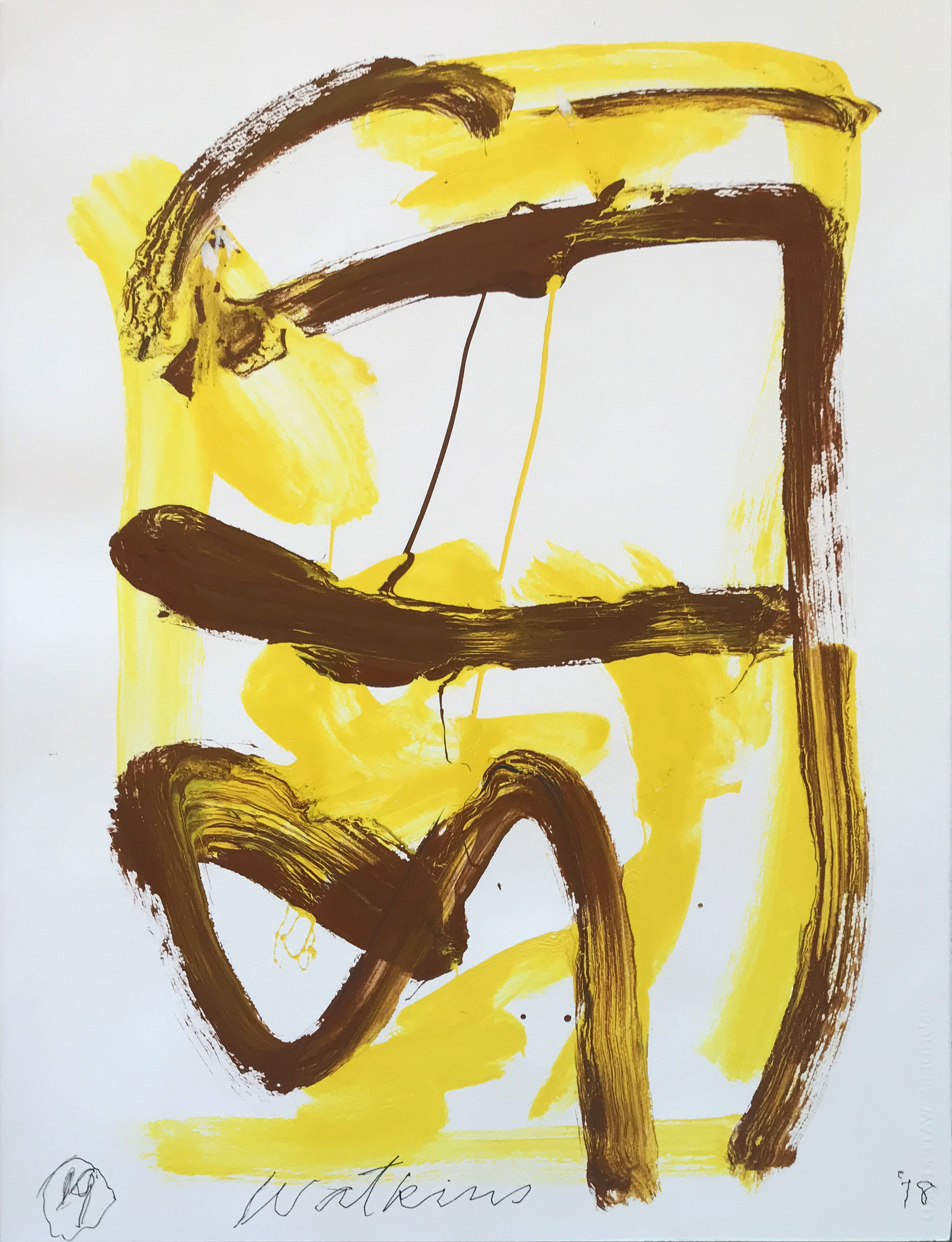DICK WATKINS  Untitled drawing 19 , 2018 acrylic on 300gsm paper 76 x 56 cm