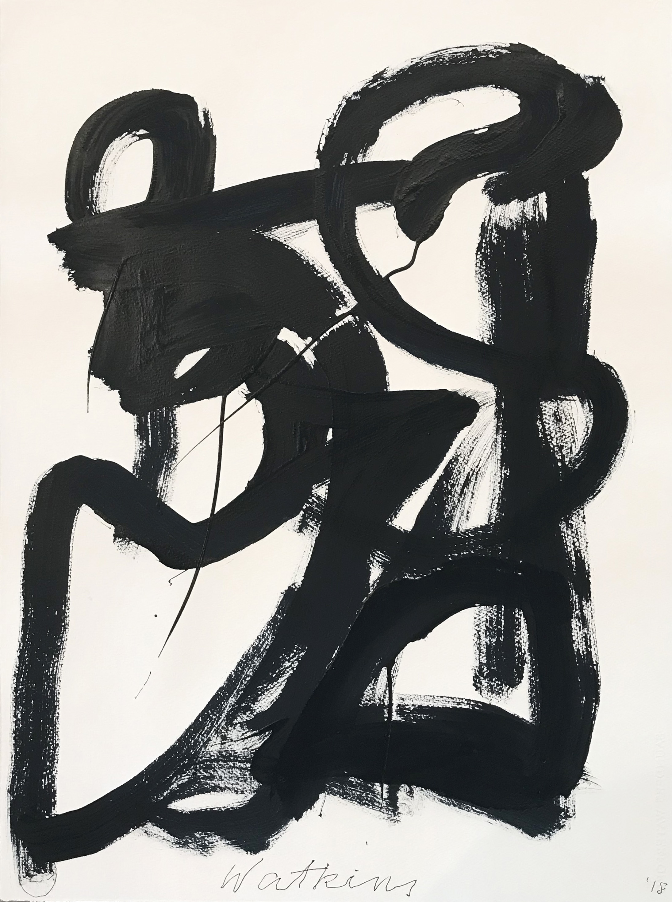 DICK WATKINS  Untitled drawing 23 , 2018 acrylic on 300gsm paper 76 x 56 cm