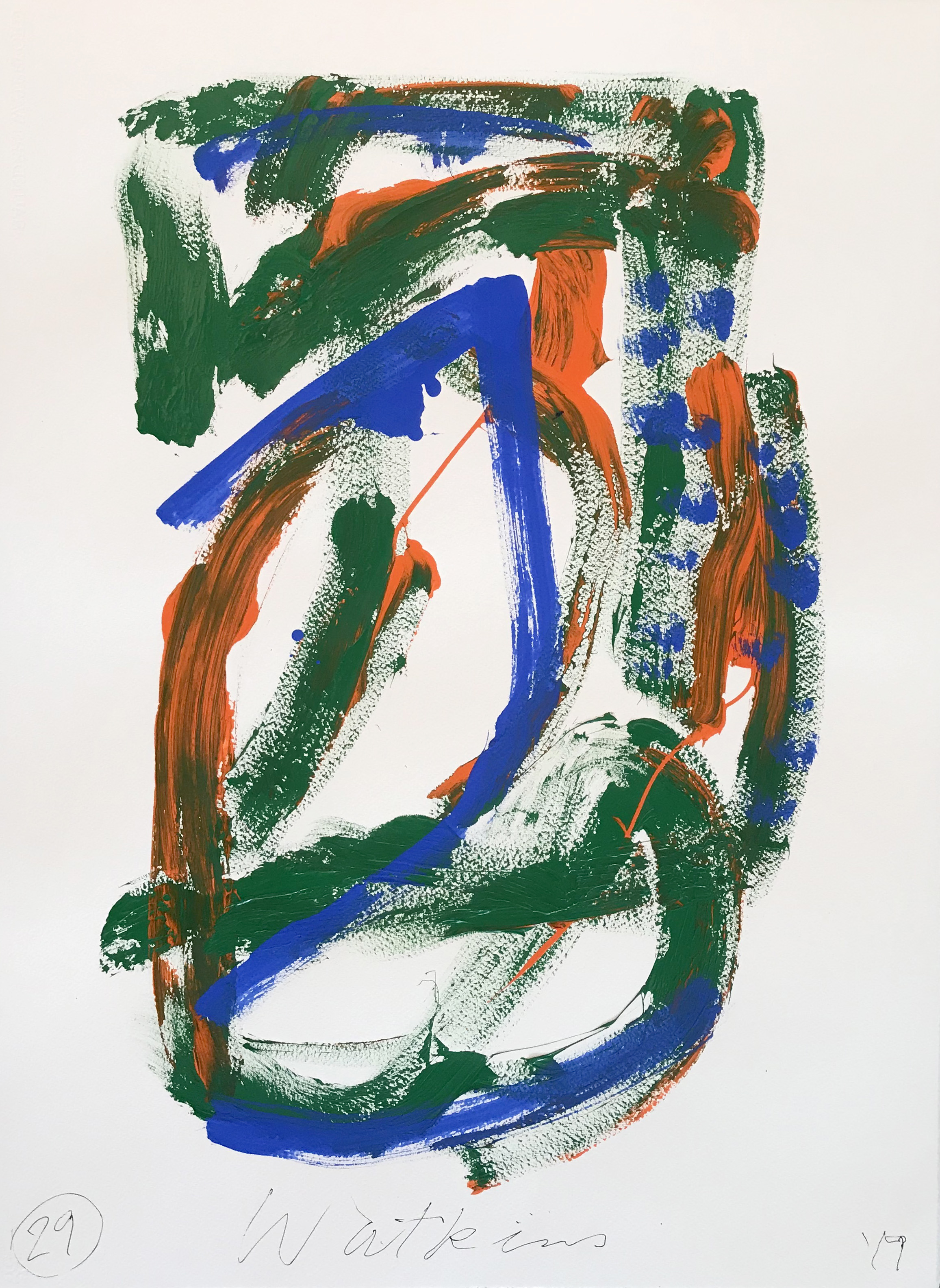 DICK WATKINS  Untitled drawing 29 , 2018 acrylic and pastel on 300gsm paper 76 x 56 cm