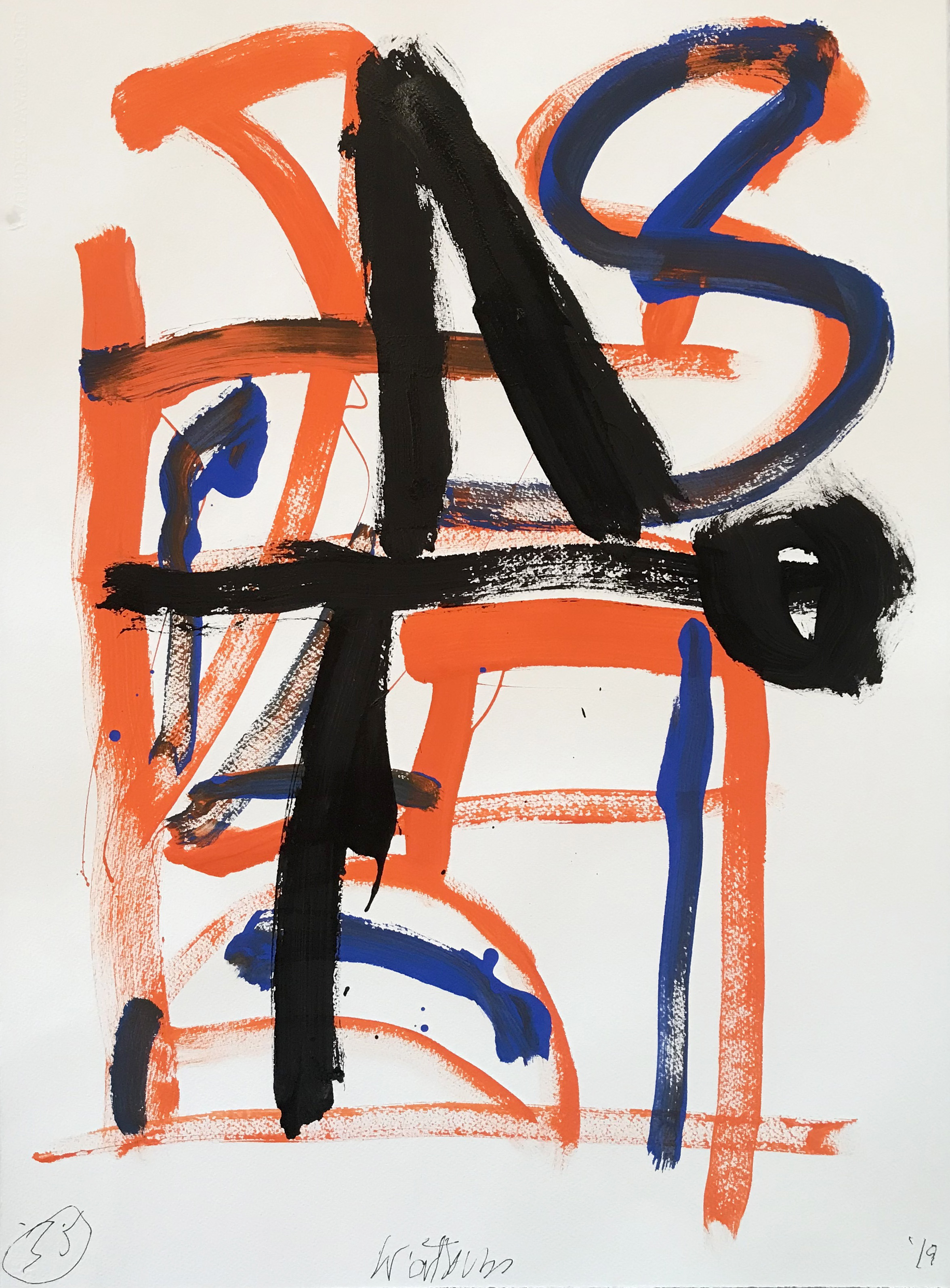 DICK WATKINS  Untitled drawing 35 , 2019 acrylic on 300gsm paper 76 x 56 cm