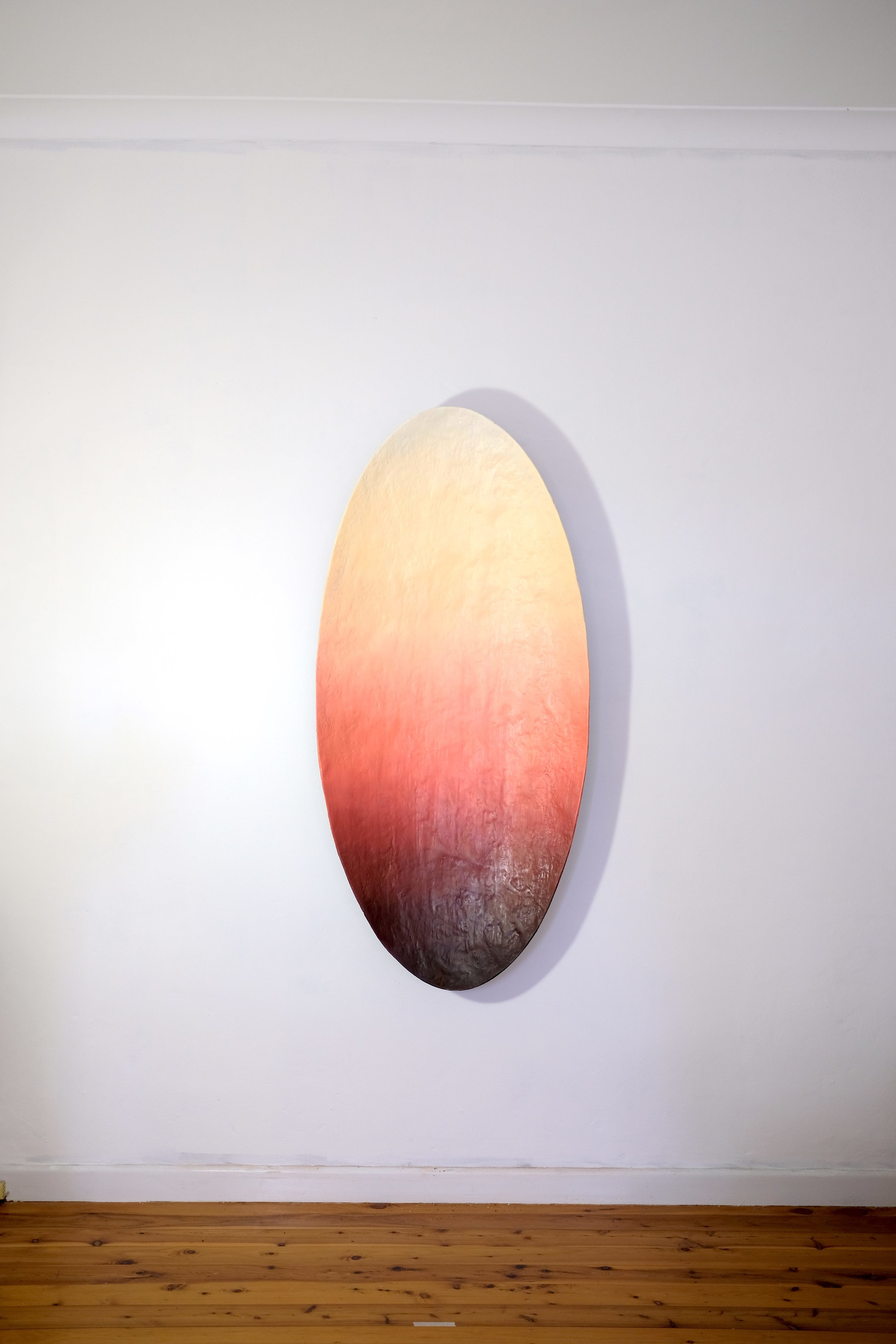 RYAN HOFFMANN  Shadow Painting, Desert Dusk , 2019 moulded oil paint, synthetic polymer, gypsum, CSM, marble dust, wax, timber and stainless steel, cast in the ground 154 x 72 x 15 cm