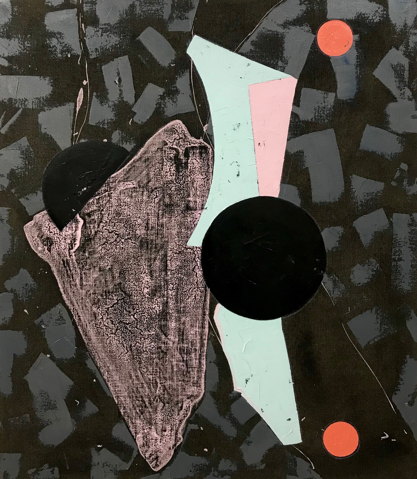 PETER SHARP  Two Fold , 2019 oil and acrylic on linen 152 x 130 cm