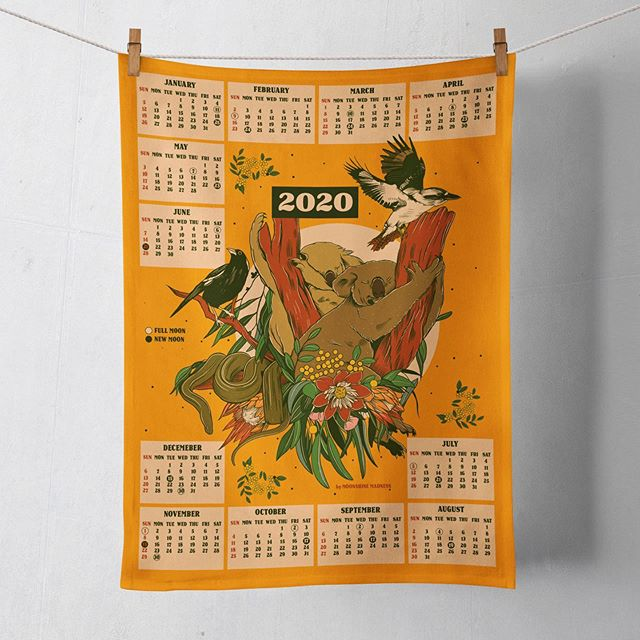 It lives! 2020 Koala Calendar with a cheeky full/new moon dates 🌚🐨🌝 You can now pre-order them along with their A3 prints. Enjoy x