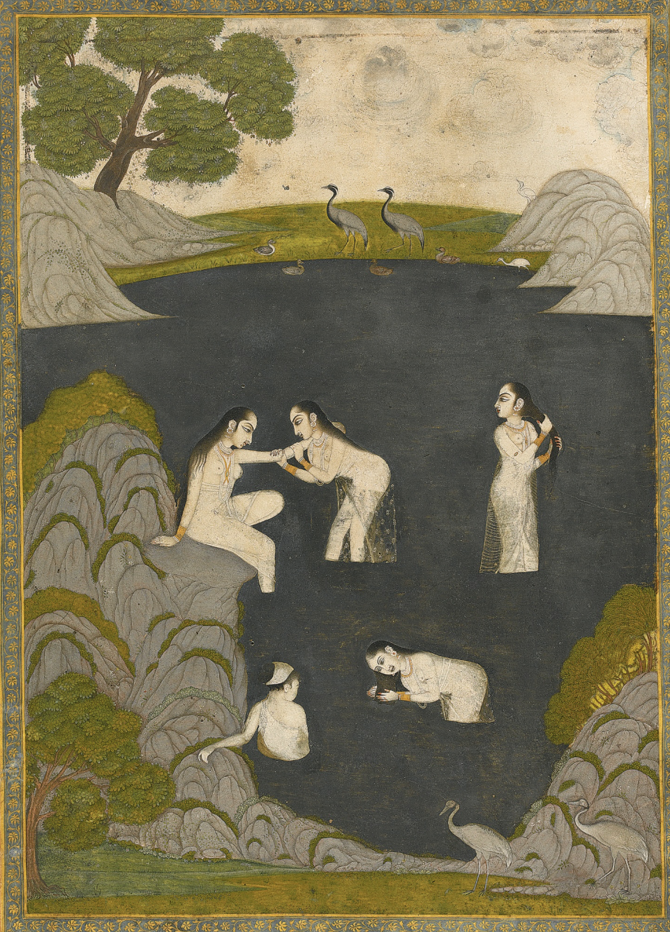 Ladies Bathing in a Rocky Pool, India, Awadh, late 18th century.