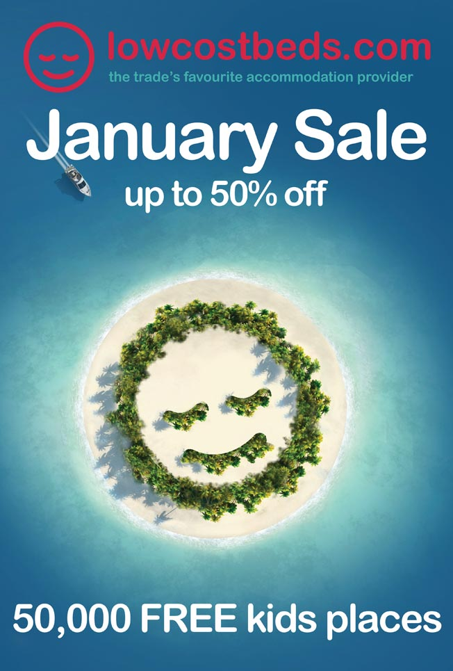 Full page January national newspaper advertisement:  50% OFF | FREE kids places