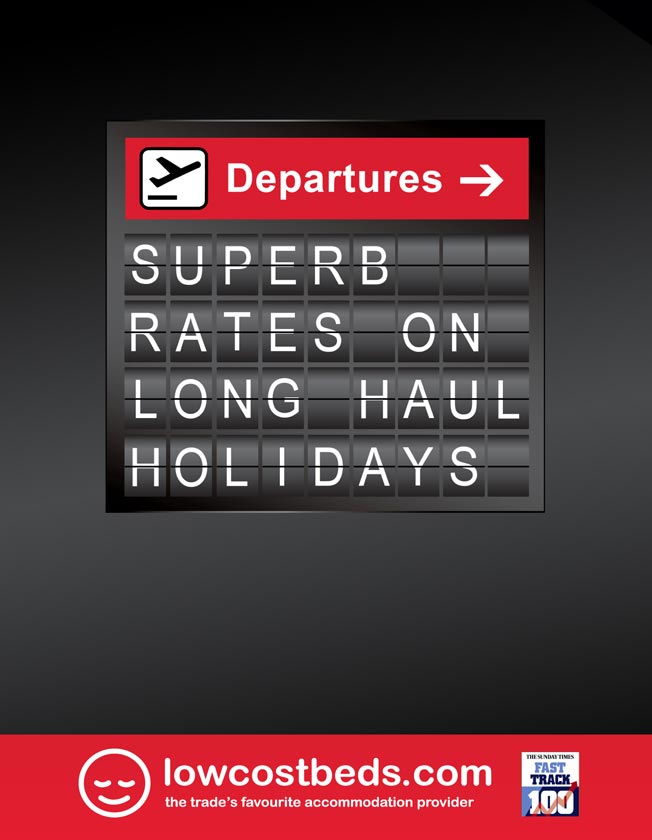 Full page national newspaper advertisement: Superb rates on long haul holidays