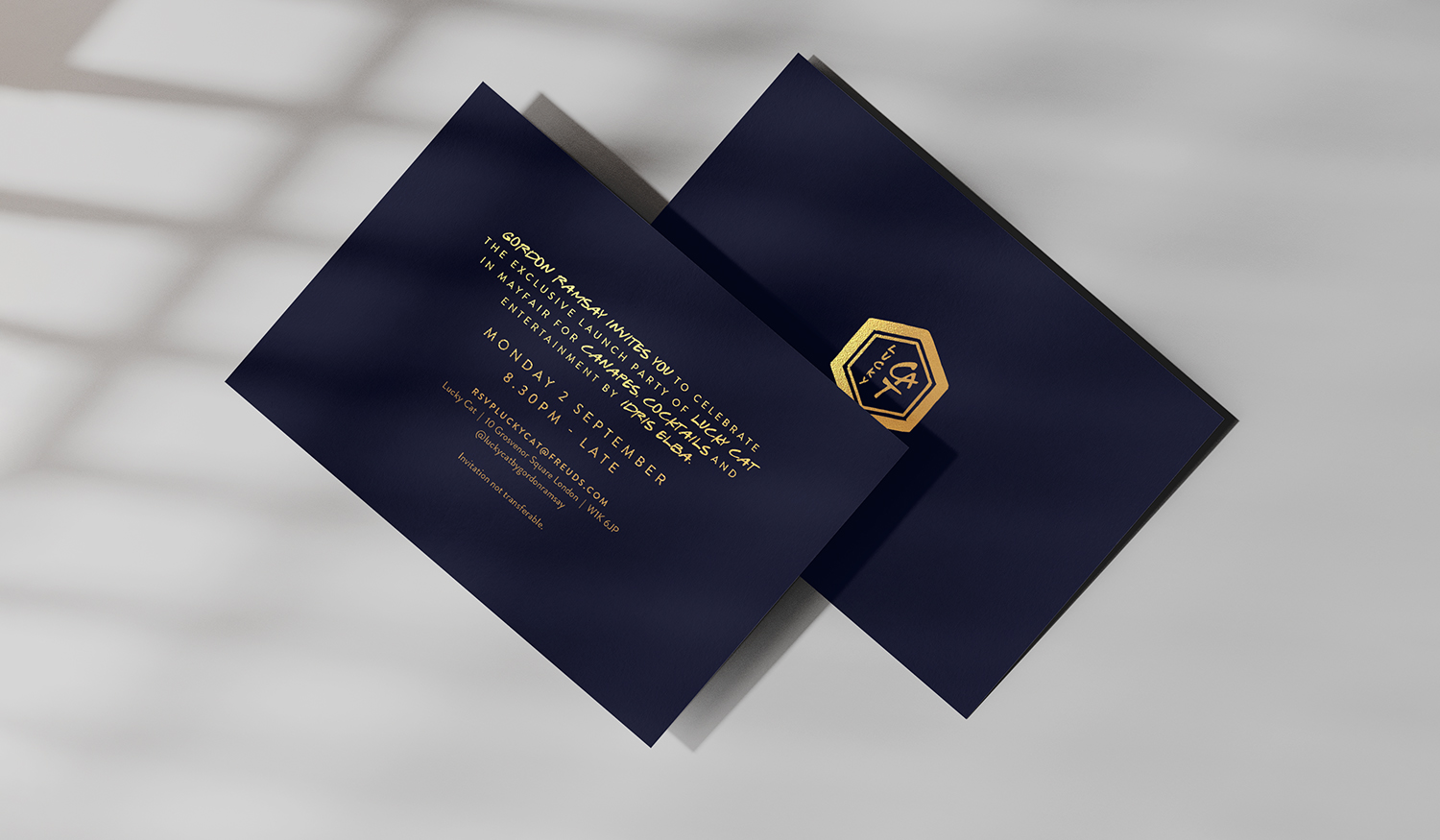 Lucky Cat Showcase:  Foiled Launch Invitations
