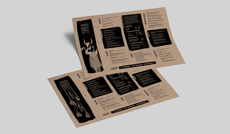 Gordon Ramsay Bar & Grill Branding:  Bespoke Menus