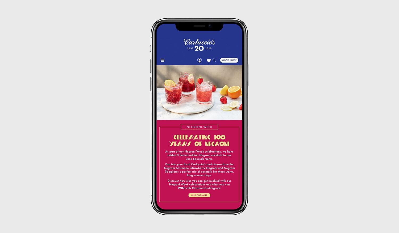 Negroni Week:  Mobile Homepage Branding