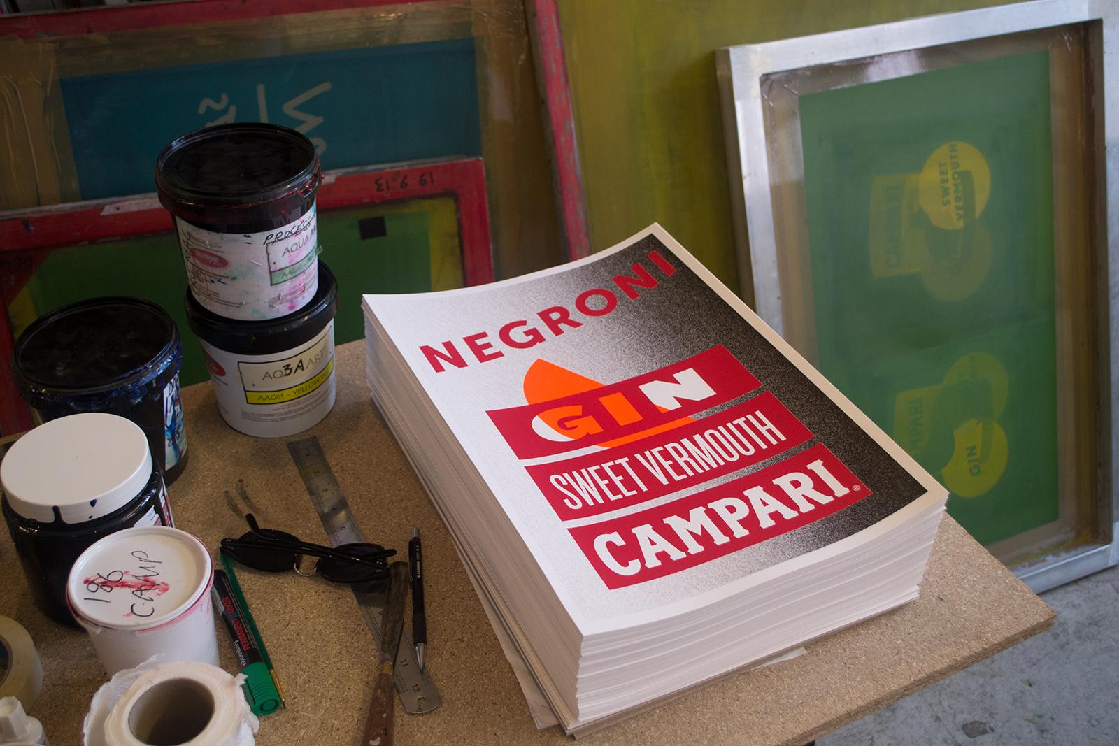 Campari Negroni Silkscreen   By James-Lee Duffy