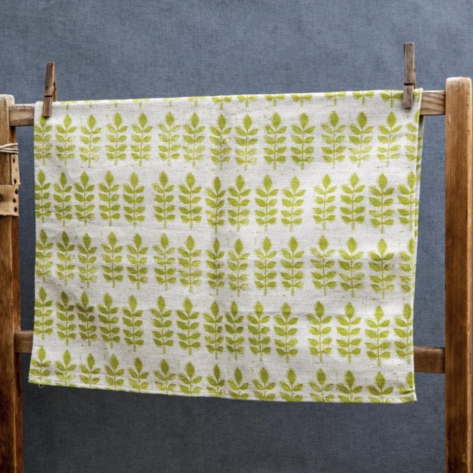 Green Leaf Cotton Tea Towel