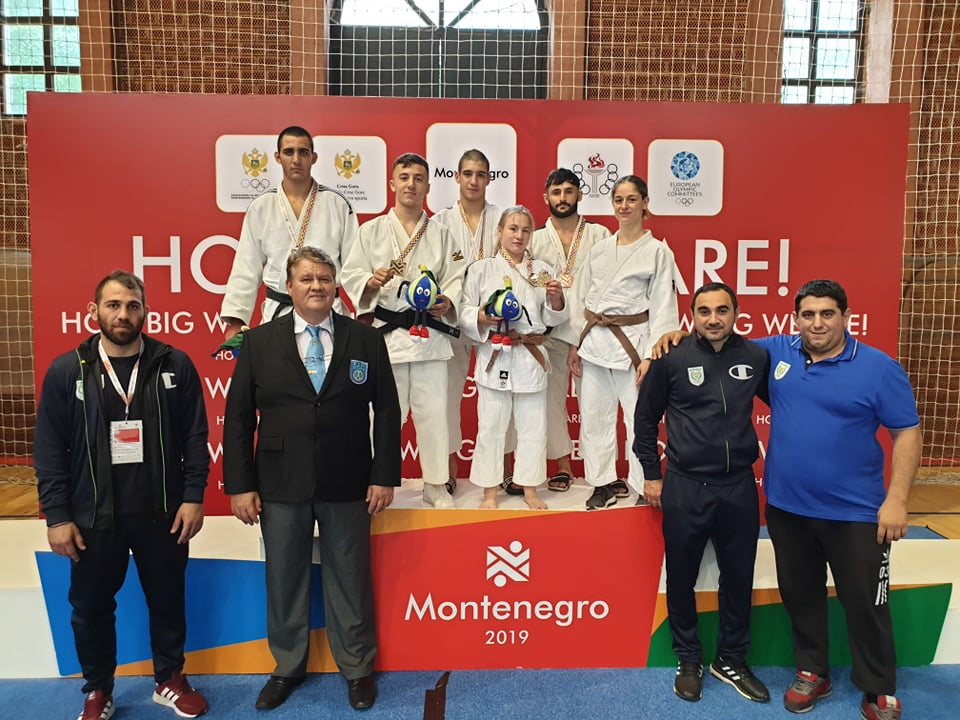 Our Judo Team that competed - (left to right) Georgios Kroussaniotakis, Georgios Balajiasvilli, Aristos Michael, Sofia Asvesta, Rudolf Kourtides and Nikola Evripidou - accompanies by (left to right) Costas Piponas (Physiotherapist), Nicos Patsiantos (Referee), Lavrentis Alexanidis (National and Team Coach) and Christos Christodoulides (Team Leader).