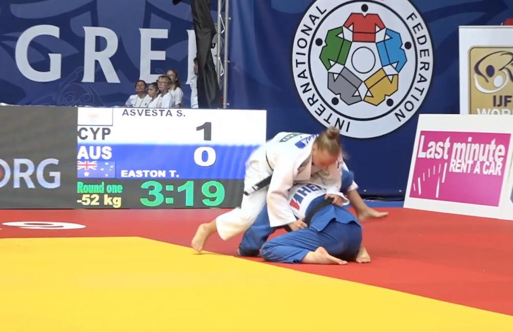 Sofia Asvesta wearing the white Judogi