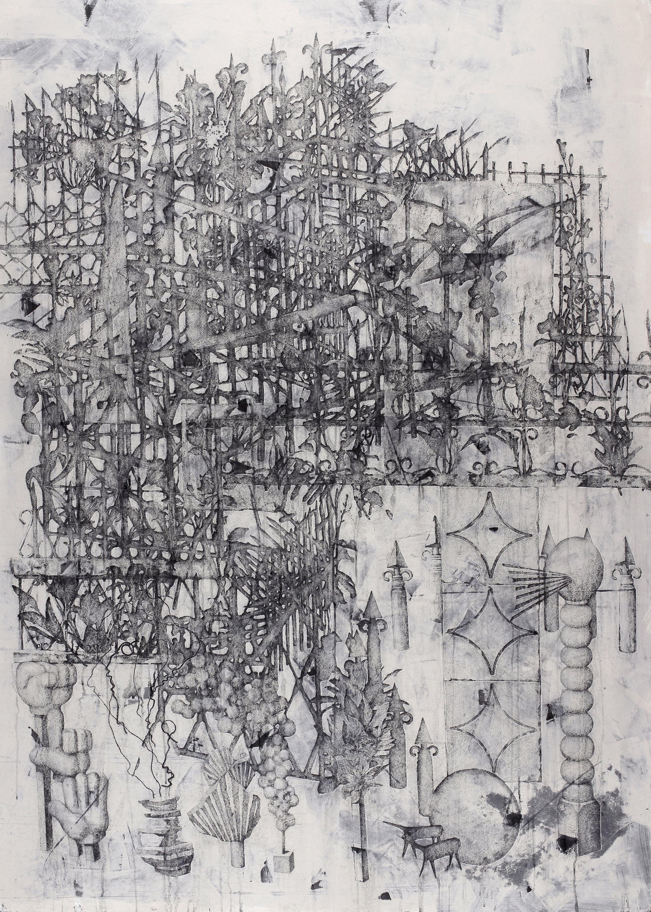 Shadow garden /  그림자 정원   Fresco technique, 204x142cm, 2018