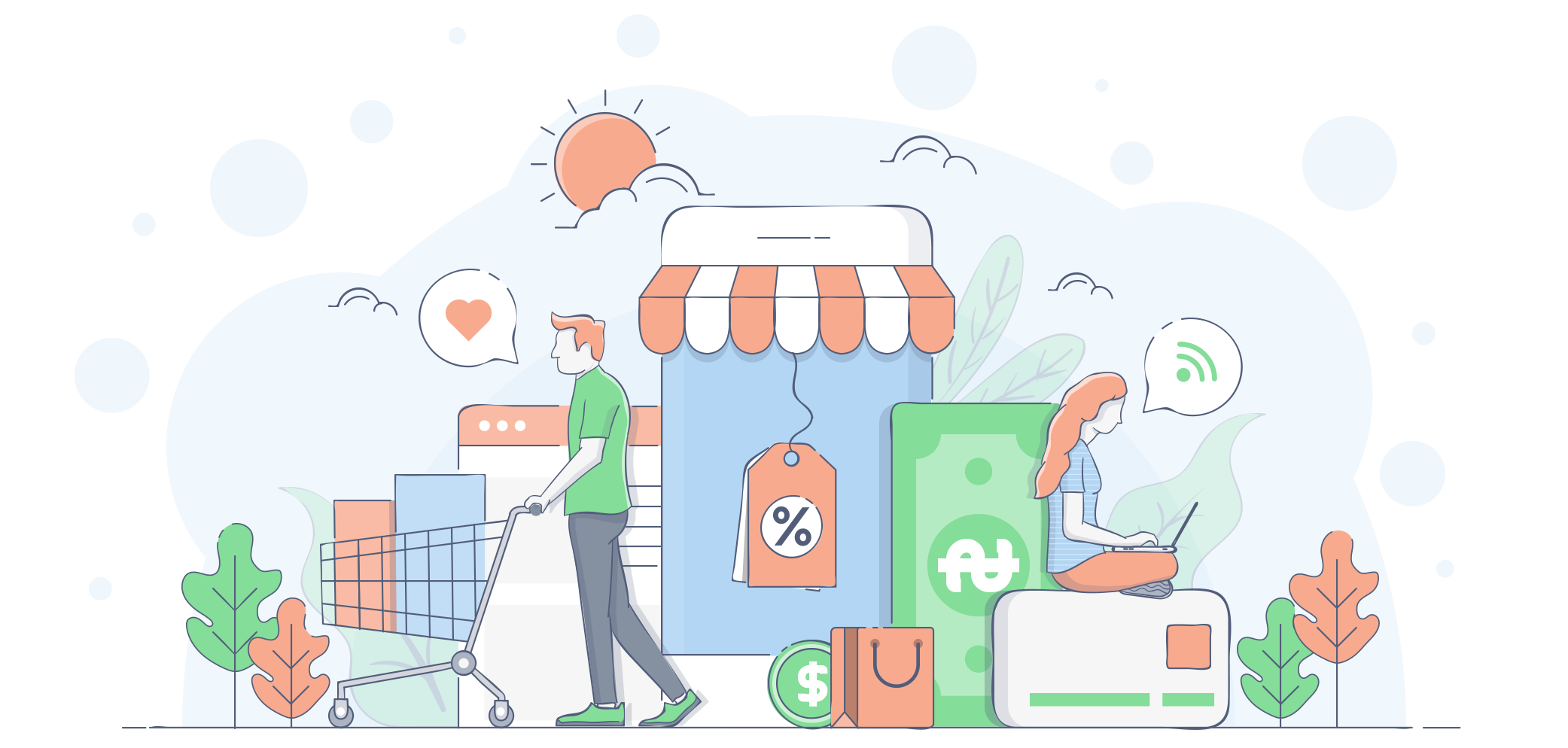 Flat Line Modern Concept Illustration - Shopping.png