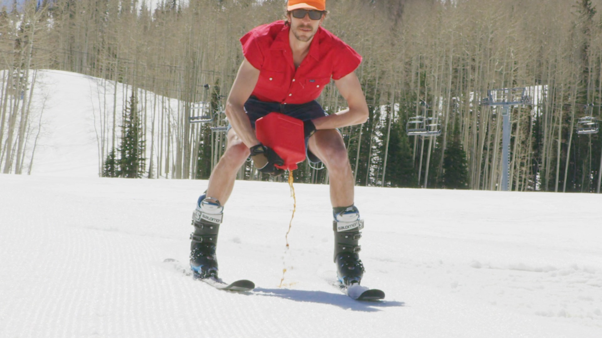 Petroleum-based ski wax is introduced directly into the snowpack